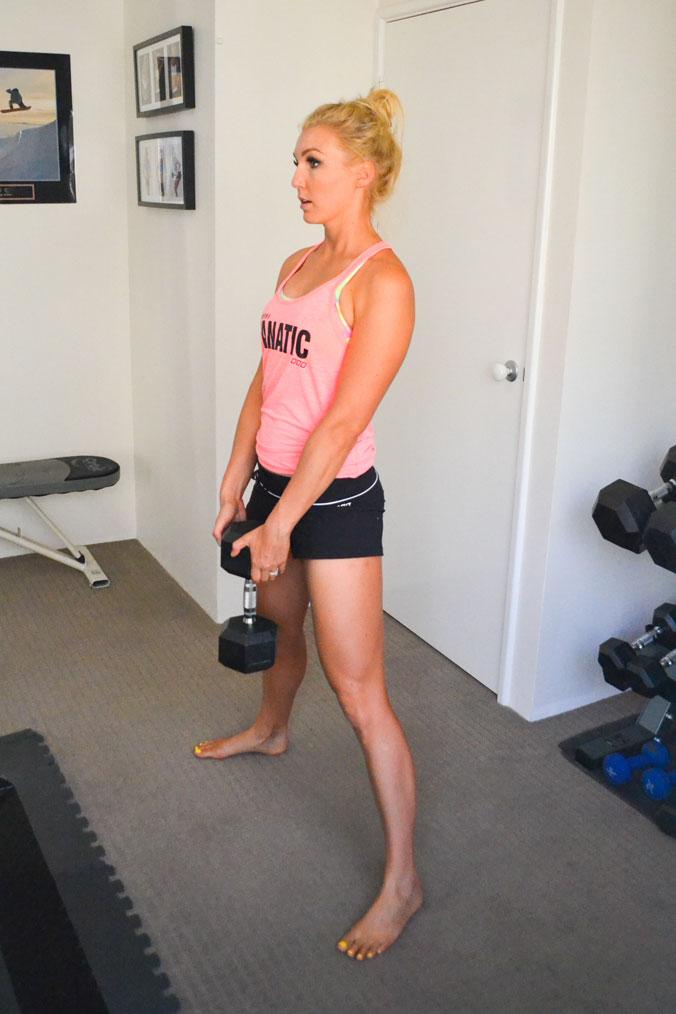 Start position for plie squats.