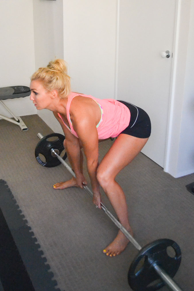 Start position for sumo deadlifts.