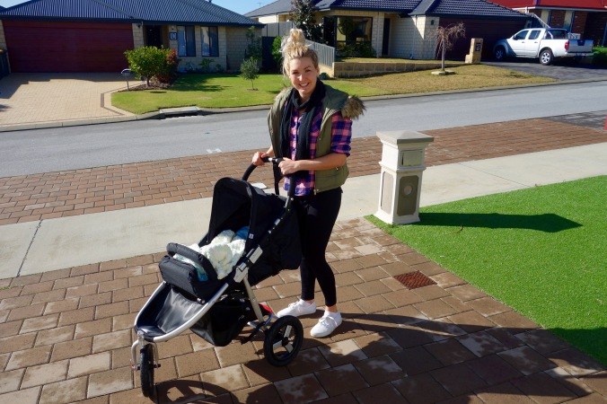 This is me off on my first walk after having my baby. It was only three days after giving birth so I only went for a 10 minute walk around the block. I remember mentally it felt unbelievably good to stretch the legs and get some sunshine and fresh air. Since having my baby it has changed my perception and motivation to exercise/ Now one of the primary reasons I exercise is to feel good and to keep healthy.